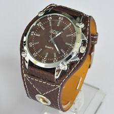 SOKI Brown Analog Time Quartz For Mens Womens Unisex Wrist Leather Band Watch