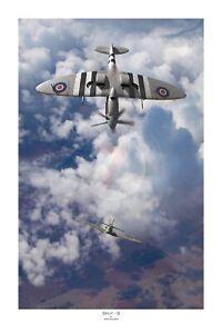 "WW2 WWII RAAF RCAF RAF D-Day Spitfire Bf109 Aviation Art Photo Print - 12"" X 18"""