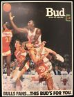 Michael Jordan 1987-88 Chicago Bulls Team Signed 18x24 Budweiser Poster JSA COA