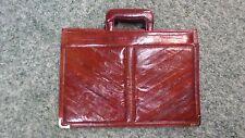 806M Burgundy EEL Skin Brief/Carry Case 16x11.5 w/Handles 3 Pockets FAIR COND