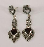 9927855 925er Silber Granat-Ohrringe Markasiten Herz