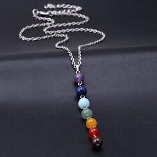 Sieben Natur Edelstein Halskette Chakra Kette Chakren Reiki Perlenkette Geschenk