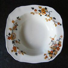VINTAGE ALFRED MEAKIN ENGLAND SWEET BOWL Orange & Yellow Flowers + Windmill