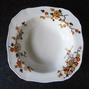 VINTAGE ALFRED MEAKIN ENGLAND SWEET BOWL Orange & Yellow Flowers + Windmill