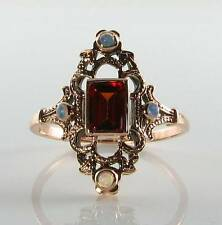 LUSH 9CT 9K ROSE GOLD GARNET & OPAL VICTORIAN ART DECO INS RING FREE RESIZE