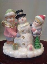 Vtg Hand-Painted Porcelain Music Box Children Building A Snowman