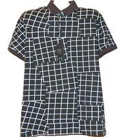 Armani Exchange Black White Plaids Cotton Polo MEN'S Shirt Size XL  NEW