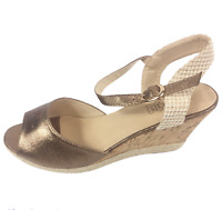 Womens Ladies Bronze Faux Leather High Wedge Heel Shoes Sandals Size UK 8 New
