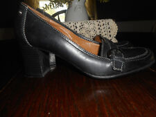 """Natural Soul by Naturalizer AROMA Womens Size 7  Black Leather Pumps 2"""" Heels"""