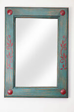 Rustic Mirror-Red & Turquoise-Mexican-15x20--Clavos-Handmade-Wall-Wood-Clavos