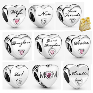 925 Sterling Silver Family Love Mum Wife Aunt Dad Heart Charm Beads + Gift Box