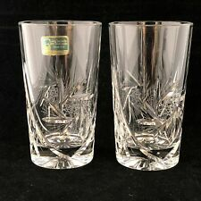 2 Lausitzer Glas Pinwheel Etched Highball Glass Tumblers