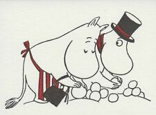 Moomin Greeting Card Letterpressed Pappa and Mamma Snow Ball Putinki