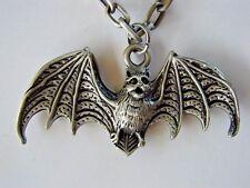 "2 1/2"" Pewter Gothic Vampire Bat Pendant Necklace Dracula Alternative Punk Emo"