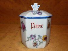 Ancien pot à épices Art Déco en porcelaine à motif floral *1* Poivre