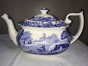 Vintage Copeland Spode Italian Blue Large Teapot 2.5 Pint VGC