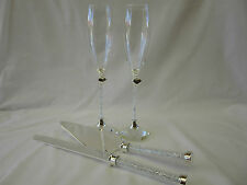 Wedding Champagne Glasses Flutes & Crystal Beads Cake Knife Server Set Heart