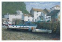 "Cornwall Coast Oil Painting Original Polperro Harbour Framed wall art 19"" x 13"""