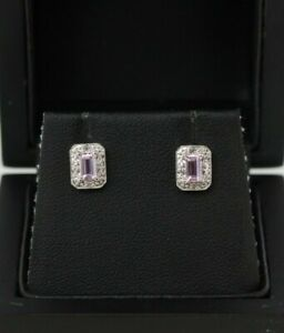 9ct White Gold Pink Topaz and Diamond Cluster Stud Earrings