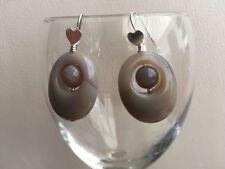 Handmade Agate Drop/Dangle Sterling Silver Fine Earrings