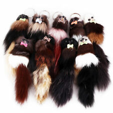 Cute 20cm Fluffy Fox Ball Key Chain Rings Pompom Faux Fox Fur Car Bag Key Ring