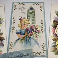 Vintage 1940s Wedding Marriage Bride Cards Lot Of 7 Unused