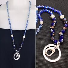 New MONET Lanyard Necklace Charm Key Card Clip Holder Sparkly Blue AB Beaded