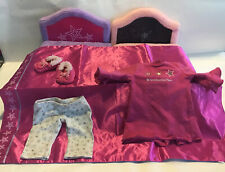 American Girl Pink And Purple Fold Out Bed With Blanket And Pjs + Soft Slippers