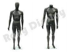 Male Unbreakable Plastic Mannequin Display EggHead Dress Form #SM1BKEG-PS