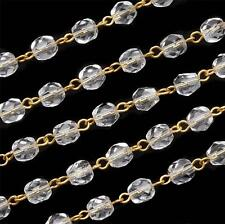 1 ft Clear Glass Rosary Faceted Beads Gold Link Chain 6mm NEW Jewelry Supply DIY