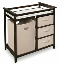 Modern Changing Table with 3 Baskets & Hamper - Espresso