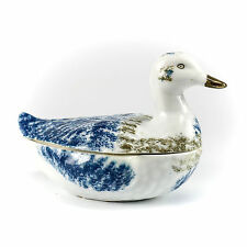 M.S. Kuznetsov Russian Porcelain Duck Form Box Hand Painted Gilt Blue & Brown