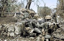 WW2 Picture Photo U.S. Marines firing an M1919 Browning machine gun and BAR 886