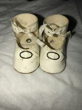 "Vintage White Shoes 2 1/4"" for Schoenut Doll. 2 Holes In The Bottom"