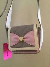 nwt Betsey Johnson Mini Saddle Pink Heart Quilted Bow Cross Body Purse handBag