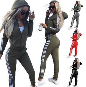 Womens 2 Pcs Athleisure Sports Training Wear Tracksuit Hoodie & Pants Set UK