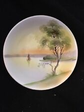 "Vintage Noritake M Dish Bowl Japanese Landscape Sunset Sailboat 5 3/4"" Asian"