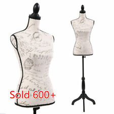 Female Mannequin Torso Dress Form Display Pattern W/BlackTripod Stand Adjustable