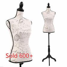 Female Mannequin Torso Dress Form Display Pattern W/BlackTripod Stand Adjustable