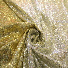 """OMBRE' Baby Gold Silver Full Sequin 100% Poly 2w Stretch Yellow Mesh Fabric 60""""w"""