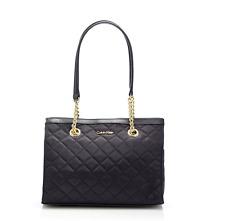 NWT Calvin Klein Quilted Nylon Satchel SHOULDER BAG BLACK gold Demi 24H SHIP