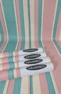 Gramercy Wallpaper Cream Bold Teal Green PINK Blue Vertical Stripe 4 Roll Lot
