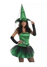 Ladies Womens Green Witch Costume Halloween Fancy Dress Outfit - Size M (10-12)
