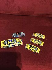 M&m Set Of 1 Large & 4 small diecast cars Ken Schrader 3 Yellow 1 Black Gray -