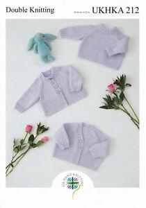 "UKHKA 212 Baby Sweater & Cardigans Knitting Pattern In DK 14-22"" (36-56cm)"