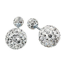 Silver Ball Earrings Crystal Ball Shinning Round Brilliant Cut Solitaire Earring