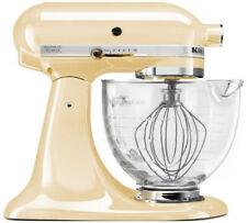 KitchenAid Stand Mixer With Glass Bowl Delux Artisan Design Tilt Almond Cream