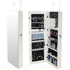 Large Mounted Hanging Full Size Mirror Jewelry Cabinet Storage Organizer Shelves