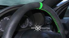 Se adapta a Mercedes C W203 00-07 Cubierta del Volante Cuero Perforado + Correa Verde