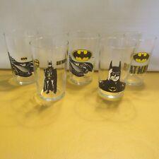 BATMAN DC COMICS LOT 5 GLASSES PROMO ULTRAMAR CANADA LOGO BUST BATMOBILE 1989